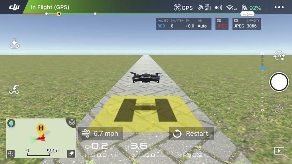 Интерфейс программы - симулятора для Mavic Air