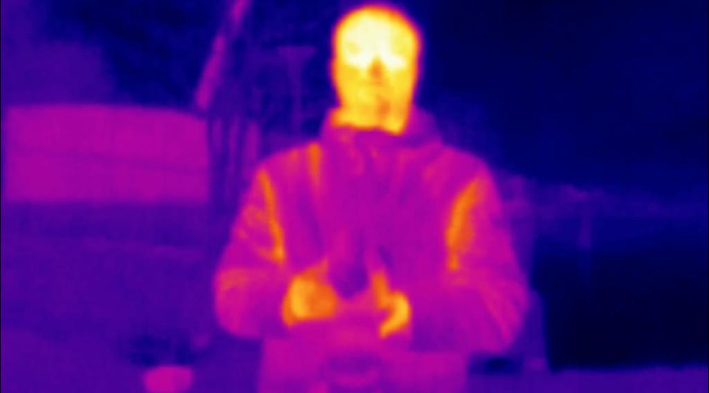 Отображение с тепловизионной камеры дрона DJI Mavic 2 Enterprise Dual - результат дистанционной проверки температуры