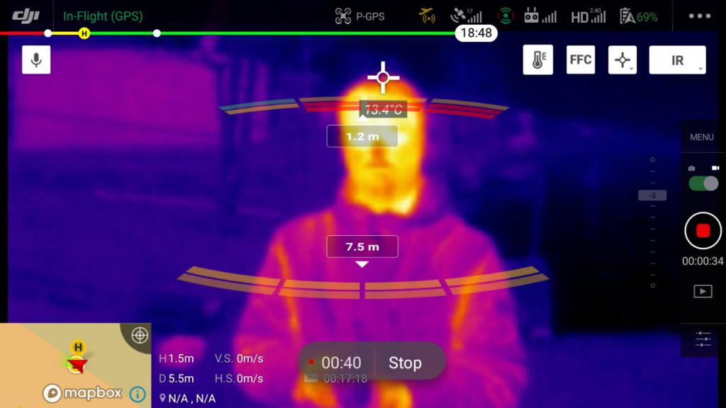 Скриншот программы для дистанционного измерения температуры с DJI Mavic 2 Enterprise Dual