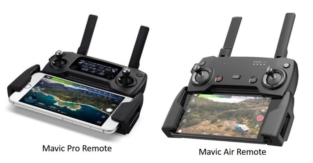 Для сравнения: пульты дистанционного управления Mavic Pro и Mavic Air