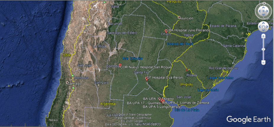 Карта Аргентины с планируемыми локациями временных госпиталей экстренной помощи больным COVID-19