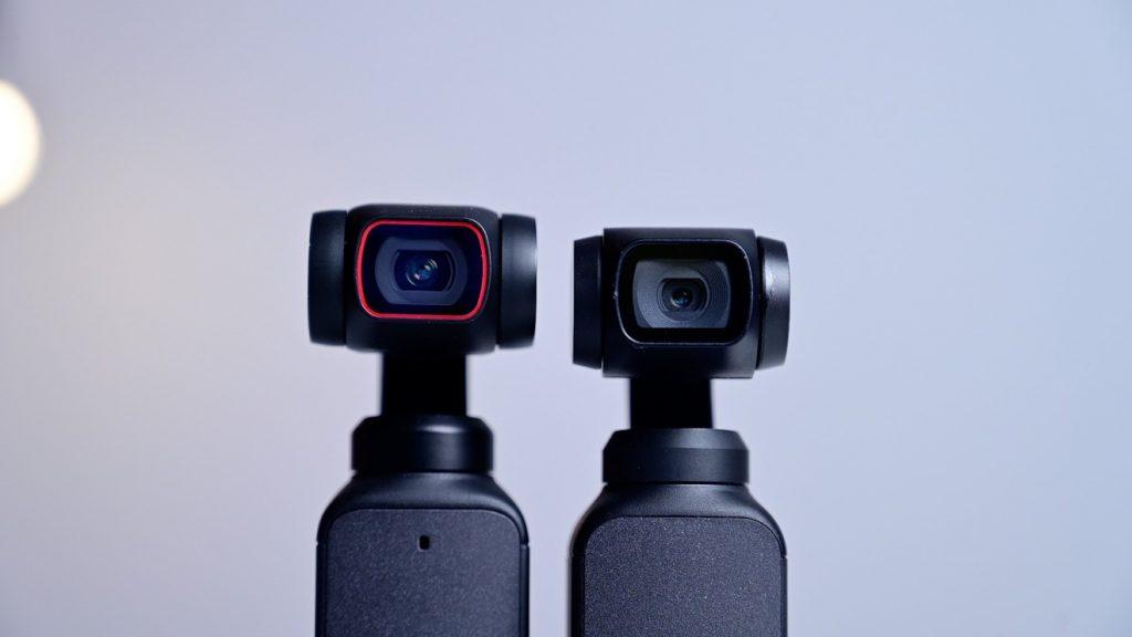 Объектив камеры DJI Pocket 2 (слева) и объектив DJI Osmo Pocket (справа)