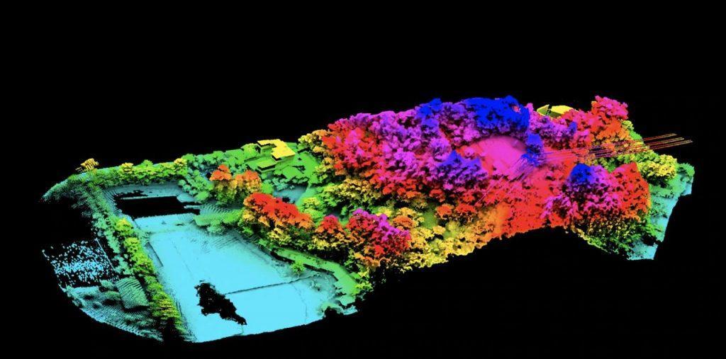 Модель рельефа, созданная с помощью LiDAR и RGB-камеры Zenmuse L1