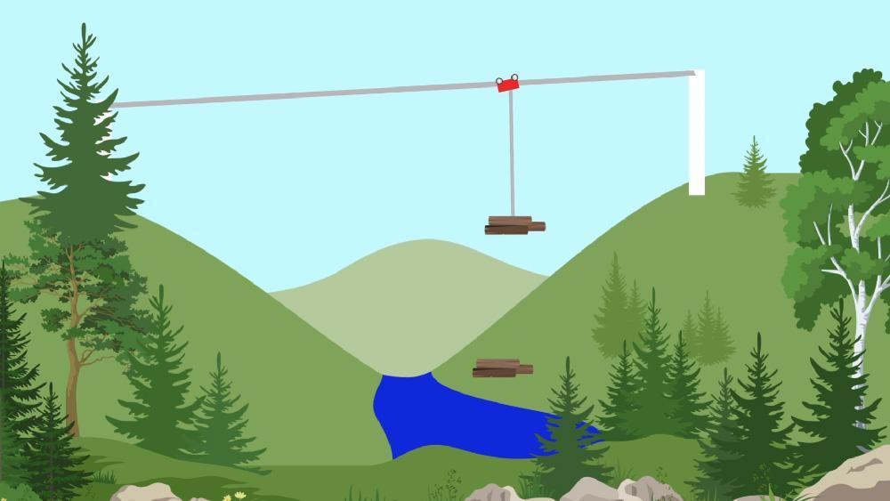 Схема процесса доставки спиленного леса в непроходимой местности. Дроны способны контролировать весь процесс безопасным образом с воздуха