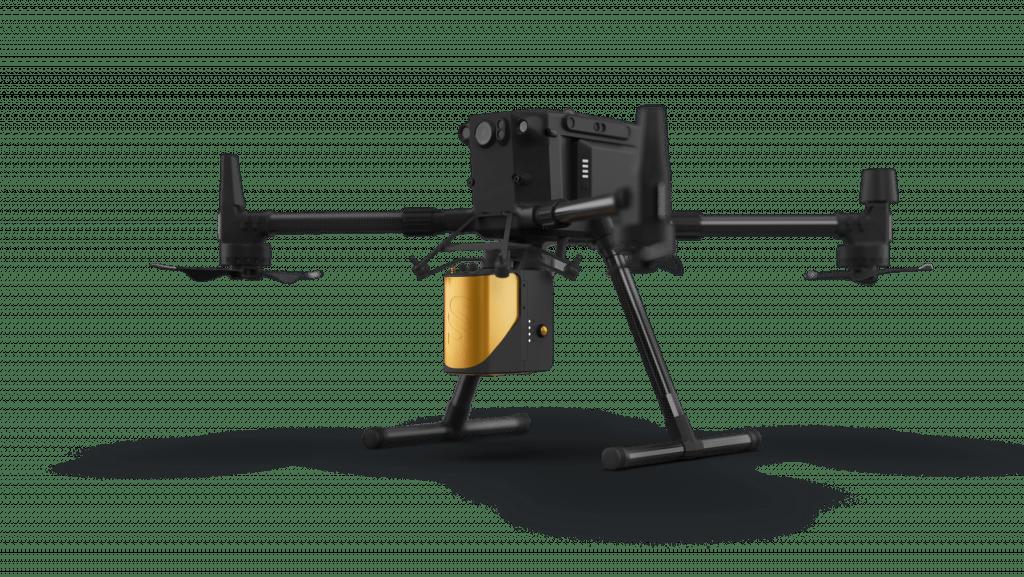 Промышленный дрон DJI Matrice 300, оснащенный Livox LiDAR, установленным на адаптер DJI Skyport