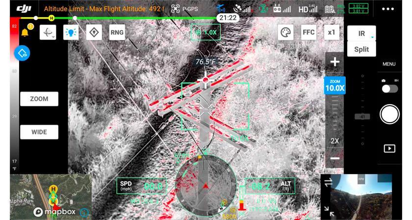 Работа ПО дрона с тепловизором DJI во время полета